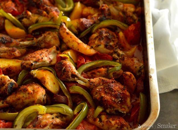 Hiszpańska warzywna zapiekanka z kurczakiem