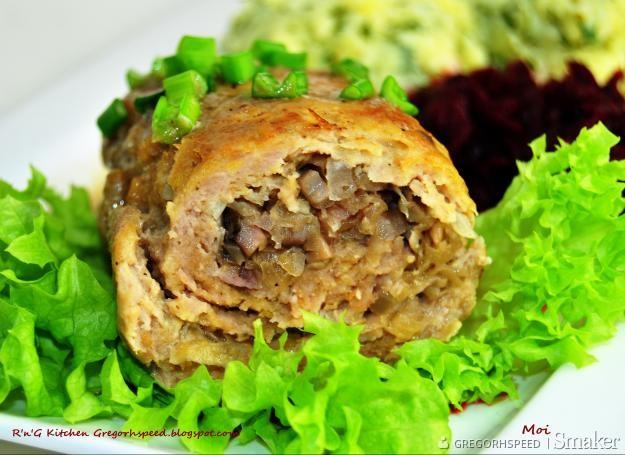 Roladki z mięsa mielonego z kapustą kiszoną i pieczarkami