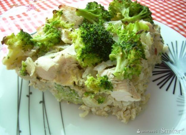 Ryzowa Zapiekanka Z Kurczakiem I Brokulami