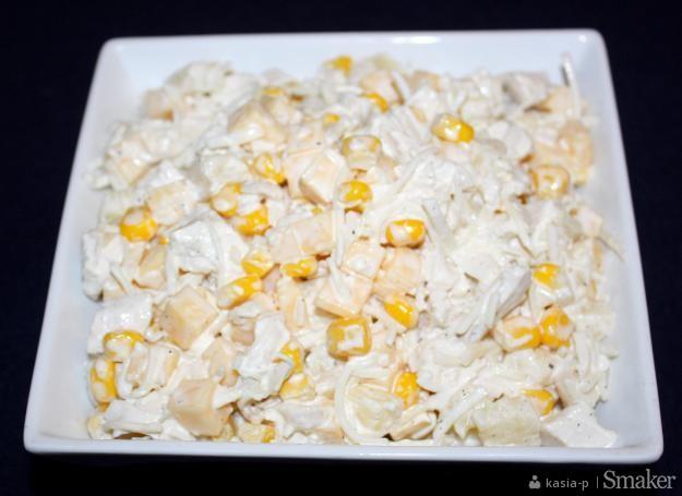 Salatka Z Czerwonej Fasoli Selera Piersi Kurczaka I Ananasa