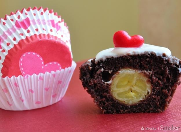 Bananowe muffinki na Walentynki